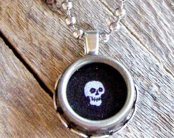 Typewriter Key Necklace, Skeleton/Skull Day of the Dead, Goth