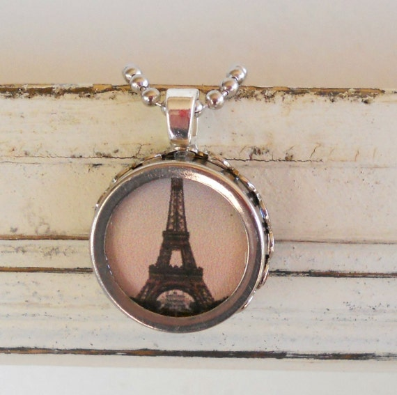 Paris, Eiffel Tower, Paris is for Lovers Necklace, Typewriter Key Setting, Vintage, Francais, Romantic