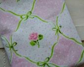 Vintage Pink Floral and Polka Dot Fabric - 1 Yard