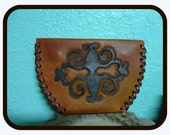 Tooled Leather Coin Purse, Neo Victorian