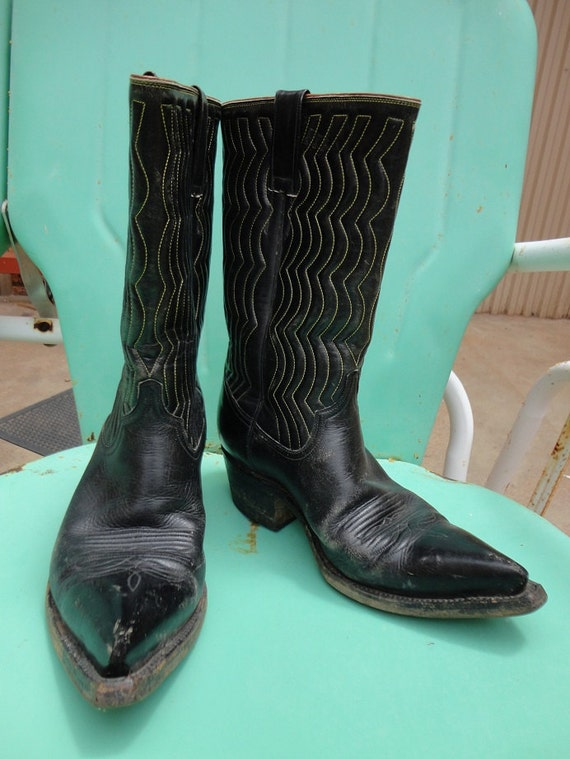 Reserved for MadeforWalkin Vintage  Cowboy Boots Black Awesome Boots, Cool Yellow stitching