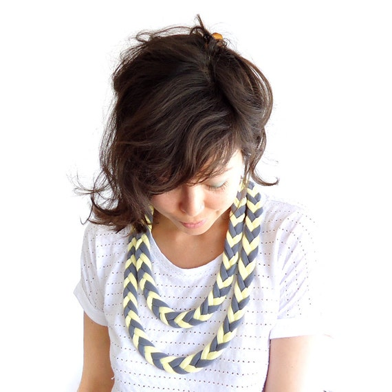Braided Arrow Necklace Lemon Sorbet and Grey