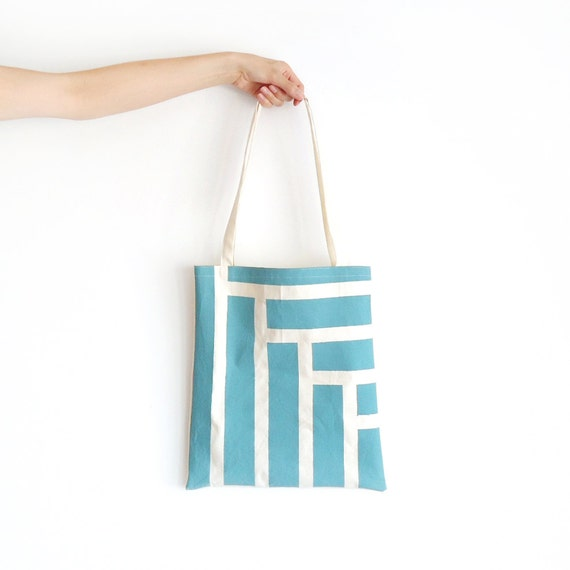 Canvas Tote Bag Duck Egg Blue Steps