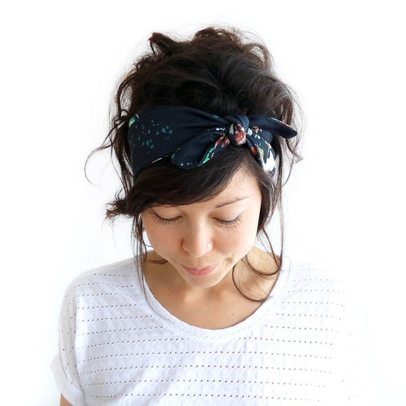 LAST ONE Tie Up Headscarf Black Floral