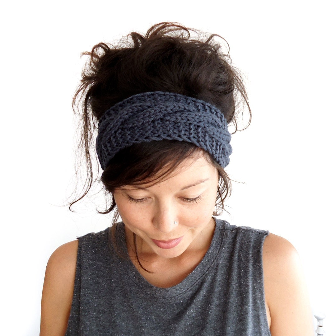 Knit Headband Pattern In The Round : Cable Knit Headband in Charcoal Grey 100% Merino Wool