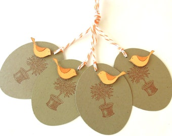 Topiary Bird Gift Tags - Set of 4 Tags