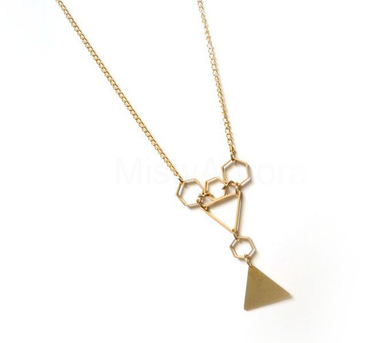 Triangle Necklace - Hexagon Geometric Pendants on Gold Plated Chain Geometric Necklace Banner Triangle Jewelry Free Shipping Etsy