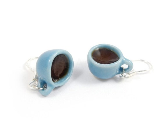 Coffee Cup Dangle Earrings - Light Blue Coffee Cup Earrings - Sterling Silver Earrings - Blue Brown - Free Shipping Etsy