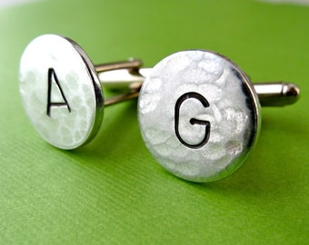 Initial Cuff Links - Personalized Aluminum Cufflinks - Hammered Weathered Texture