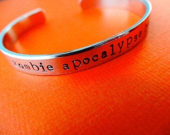 Zombie Apocalypse Buddy Bracelet - Personalized Bracelet - Skinny 1/4 cuff