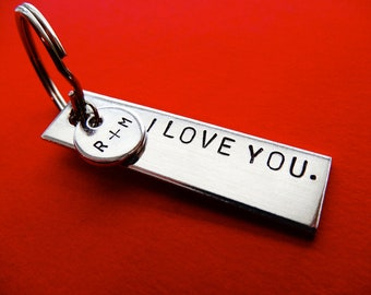 Personalized Keychain - Add a Charm Tag - Custom stamped Accessory