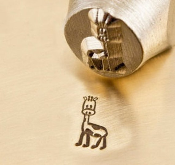 Design Stamp - GERRY the GIRAFFE - 6mm stamped image by ImpressArt -  includes How to Stamp Metal tutorial