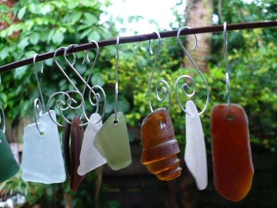 NATURAL ELEMENTS...10 sea glass ornaments, windchime making