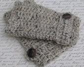 Fingerless Gloves Wrist Warmers Oatmeal Handmade Crochet