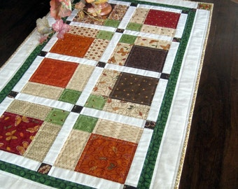 Fabulous Fall quilted table runner with Moda fabrics