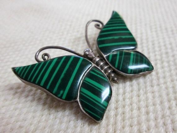 Vintage Butterfly Pin Malachite Art Glass Silver Brooch