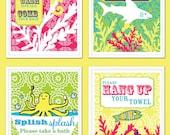 Kids Bathroom Art - Wash Your Hands, Brush Your Teeth, Take A Bath - Ocean Theme - Shark, Fish, Octopus, Seahorse, Coral - Set of Four 8x10