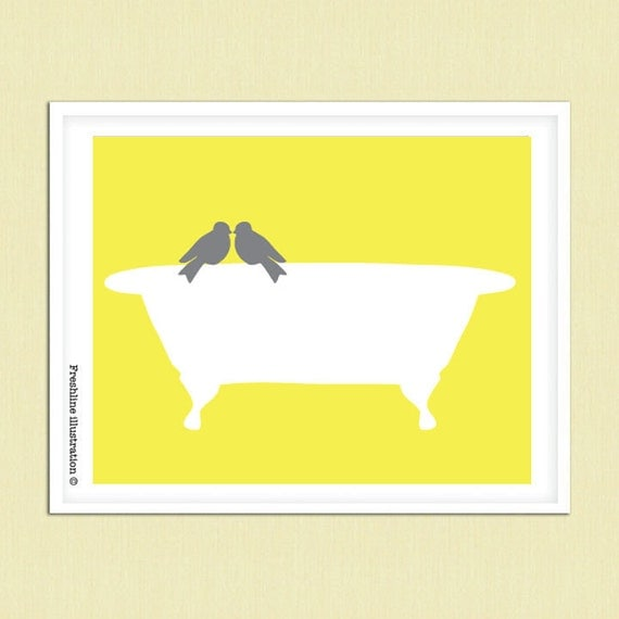 Yellow and gray art bathroom art decor love bird on by for Bathroom decor yellow and gray