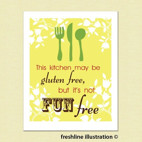 Funny Kitchen Signs: Funny Kitchen Art Kitchen Sign Food Gluten Free Is By