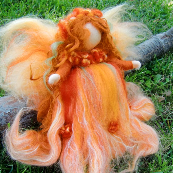 Felted Fairy - Autumn  Needle Felted Wool Angel Waldorf inspired