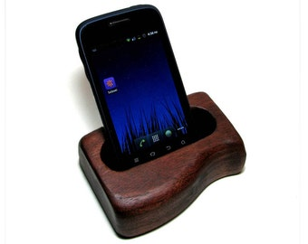 Smartphone or iPhone Deck Stand - Organic American Walnut Natural Rustic Holder by Tanja Sova