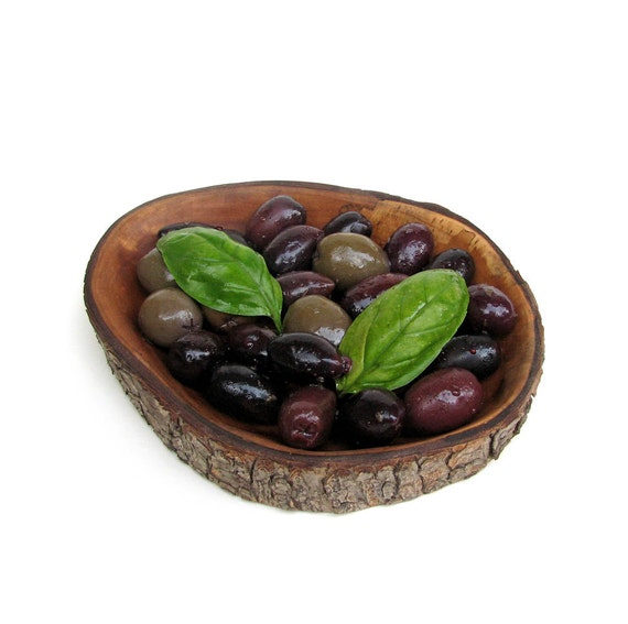 Back To Nature 4: Organic Natural Bradford Pear Rustic Wooden Olive Serving Tray or Trinket Dish by Tanja Sova