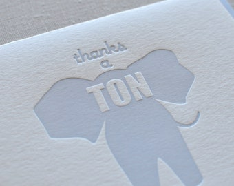 Letterpress Set of 6 Thanks a Ton elephant cards with light blue envelopes
