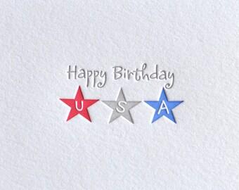 Letterpress Fourth of July Patriotic USA card, Matching Red Envelope, Deep impression