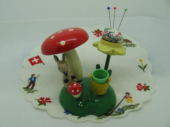 Vintage Woodland Pincushion, Needle Holder and Thimble Set