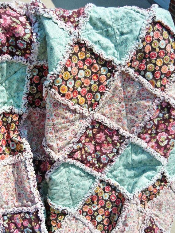 Rag Quilt, Floral and Dot, Browns, Greens, Aqua, Blue, Rose, Flannel Lap Quilt