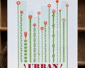 Urban Gardening mini letterpress print