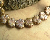 Purple Pink Czech Glass Maple Leaf  Beads Gold Metallic Brown Picasso 10x13mm (10)