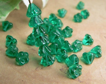 Emerald Czech Glass Baby Bell Flower Beads Teal Green 4x6mm (25)