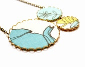 Big Necklace in Turquoise and Olive Green - Tea For Two