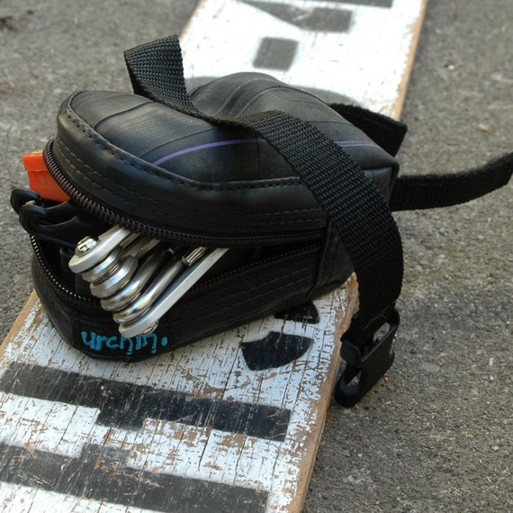 Seat bag bicycle saddle bag eco friendly made from punctured bike inner tubes