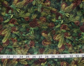 Pine Cone Evergreen Cabin Northwoods Fabric - 2 yards