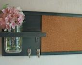 Wood Wall Shelf Cork Bulletin Board Message  Center Hooks Gunmetal Dark Gray Color