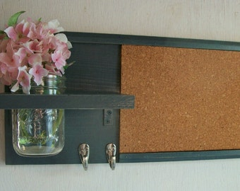 Wood Wall Shelf Cork Bulletin Board Message  Center Hooks Gunmetal Dark Gray Color