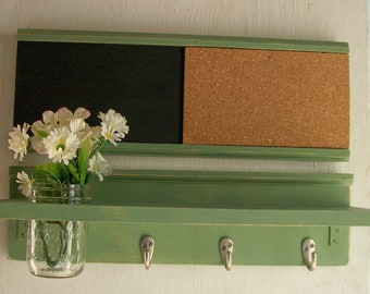 Wood  Wall Shelf Cork & Blackboard Bulletin Board Message Center Hooks Worn Sage Green Color