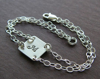 """Custom Initial Bracelet - Personalized Sterling Silver Hand Stamped Charm Jewelry - Double Strand - 1/2"""" Square Charm"""