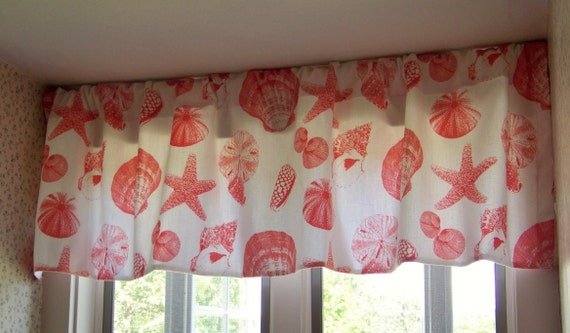 Items Similar To Seashell Beach Window Valance Botanical