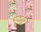 Pink Blossom Digital Scrapbook Papers