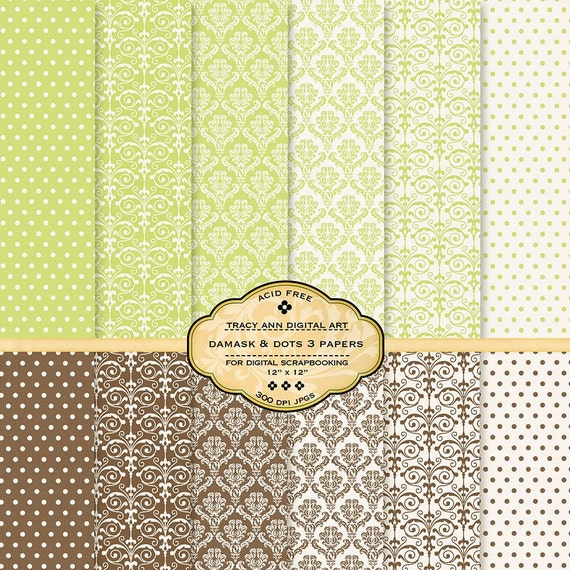 Damask Digital Paper Pack  Damask Scrapbook paper Printable Damask papers(3)