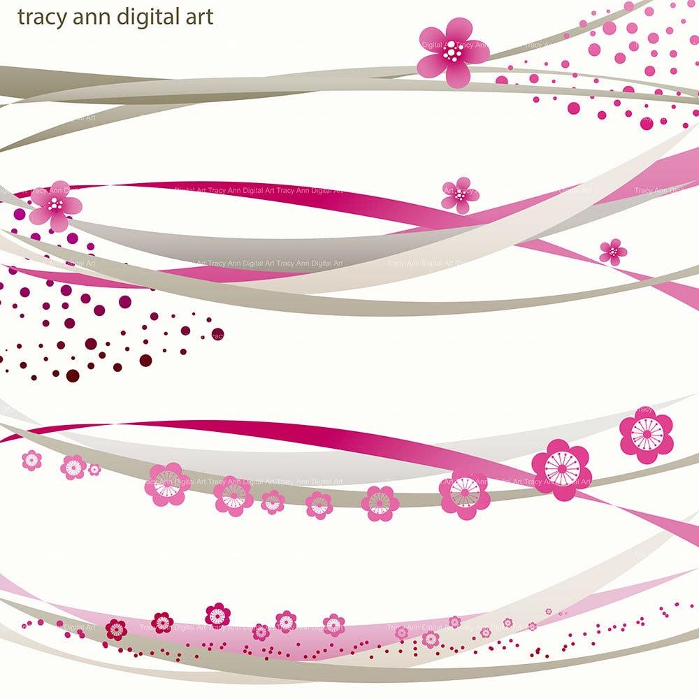 Pink Wedding Borders Clip Art: Deep Pink And Grey Digital Swirl Border Clip Art For Wedding
