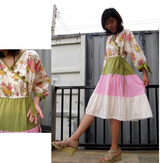 Cream Green Pink Patchwork Floral Cotton Lace hem Short  Dress  S-L  (P01)