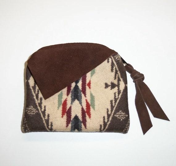 Zippered Pouch Change Purse Pendleton Wool Deerhide Leather Trim