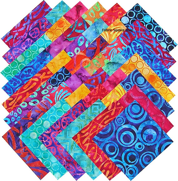 "Robert Kaufman BRIGHT BOLD BATIKS 5"" Fabric Quilting Squares"
