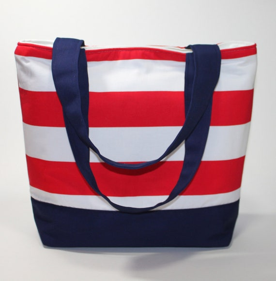 Boutique Tote - Red White and Blue Stripes