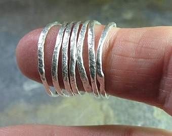 Skinny stacking rings, organic texture and shape - Summerlight Skinnies Set of 7