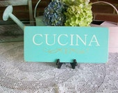 Shabby CUCINA Wood Sign for Italian Kitchen Plaque Painted